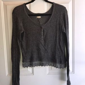 Lace Chiffon Trim Henley Sweater Top